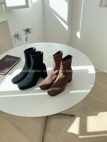 【Z922997】麂皮中線方跟高跟靴