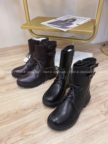 【Z821936】雙釦環綁帶馬丁靴