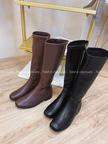 【Z821937】側拉鍊騎士靴高筒靴 (限定宅配寄送)