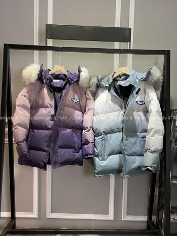 【Z720007】漸層禦寒鋪棉毛領外套