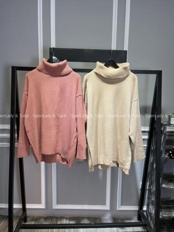 【Z720009】翻領落肩袖毛衣