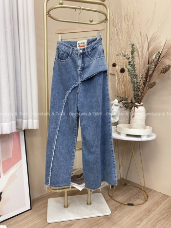 【Z821964】不規則設計牛仔寬褲