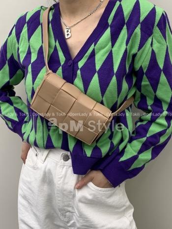 【Z923065】韓國真皮編織磁釦式胸包
