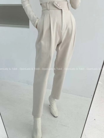 【Z923059】三釦高腰磨毛壓摺褲