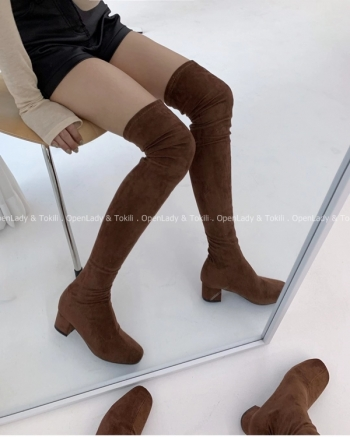 【Z923096】麂皮絨過膝粗跟靴