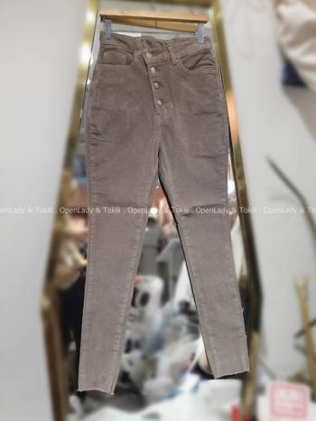 【Z923107】高腰排釦彈性修身褲