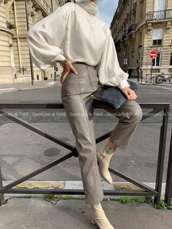 【Z923111】高腰皮革修身直筒褲