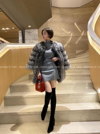 【Z923117】高領彈力內磨毛連身裙