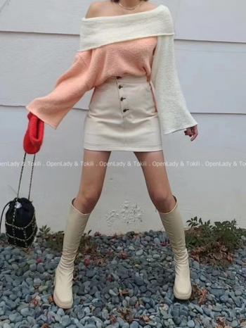 【Z923126】排釦高腰外縫窄裙