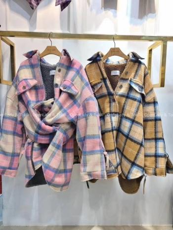 【Z923130】格紋厚料內羔羊毛外套