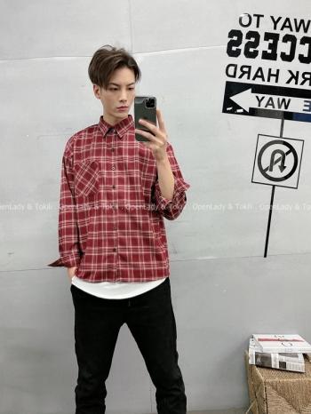 【Z720025】深色調格紋襯衫
