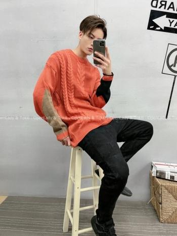 【Z720027】手袖撞色麻花毛衣