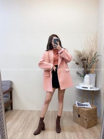 【Z822033】水蜜桃橘粉毛呢西裝外套