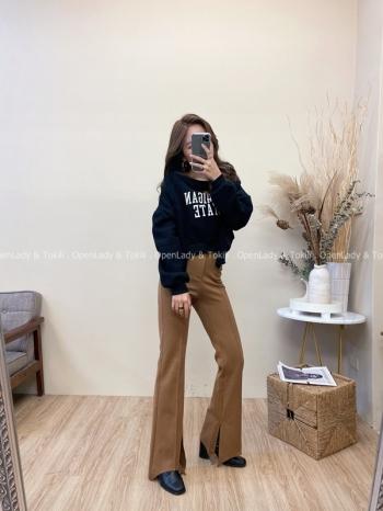 【Z822040】微喇高腰修身長褲