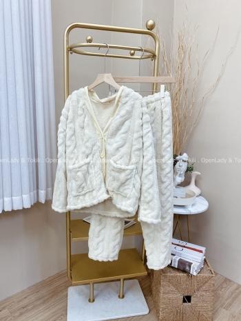 【Z822046】珊瑚絨圓釦居家服套裝