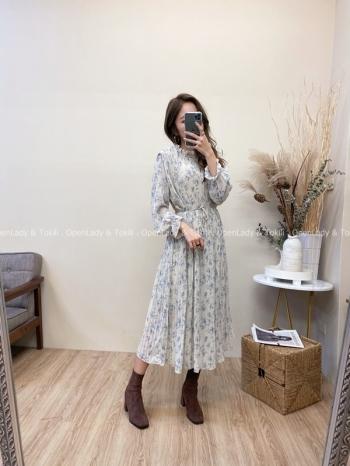 【Z822049】微領花紋壓摺雪紡洋裝