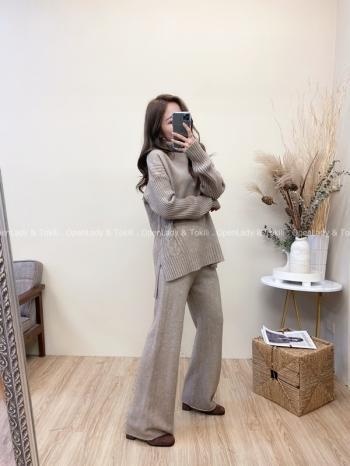 【Z822055】麻花紋彈力針織套裝(衣+褲)