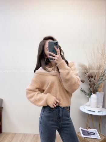 【Z822063】V領透膚露肩感毛衣