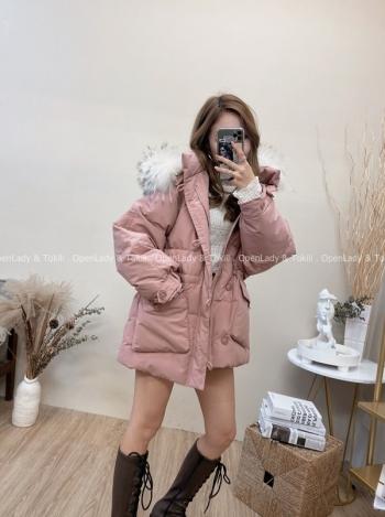 【Z822042】白鴨絨狐貍毛領極暖外套