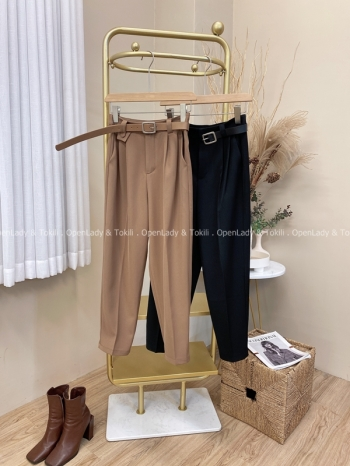 【Z822065】附皮帶西裝哈倫褲