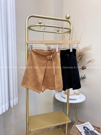 【Z822069】麂皮後腰彈力褲裙