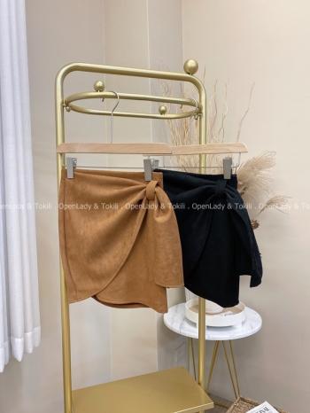【Z822070】垂墜麂皮繫帶褲裙
