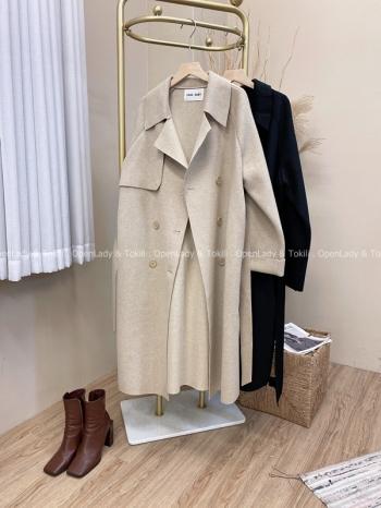 【Z822072】雙面仿羊絨雙釦長版外套