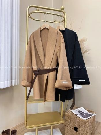 【Z822073】100%雙面羊絨翻領附腰外套