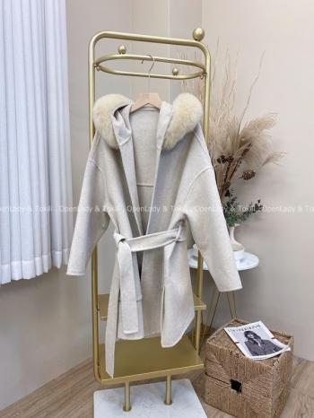 【Z822077】100%雙面羊絨毛領綁腰外套