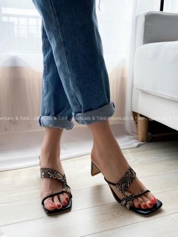 【Z923140】蛇紋細帶跟鞋