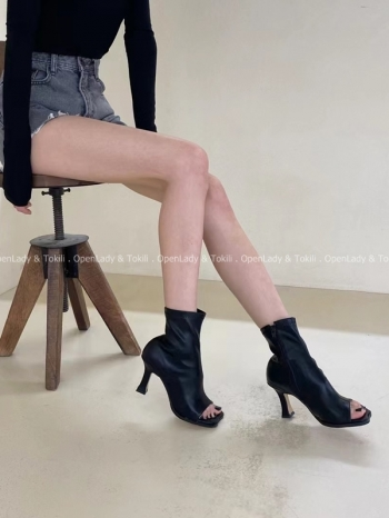 【Z923142】錐跟皮直露指靴