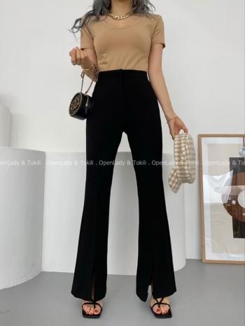 【Z923152】高腰西裝顯瘦微喇褲