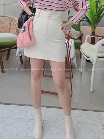 【Z923158】顯瘦雙釦高腰裙