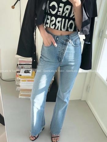 【Z923179】側釦高腰顯瘦直筒褲
