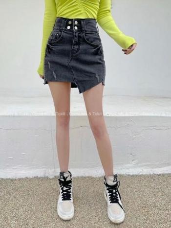 【Z923186】激推四釦顯瘦高腰牛仔褲裙