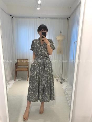 【Z923230】線條花朵綁腰長洋裝