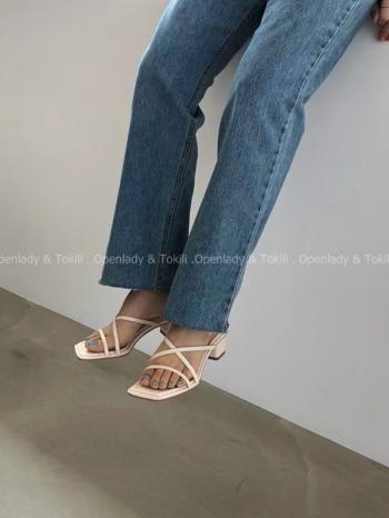 【Z923273】交叉細帶拖跟鞋