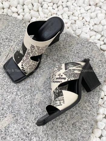 【Z923279】畫報感英字粗跟鞋