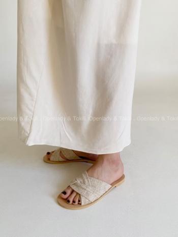 【Z923280】混色織布平底拖鞋