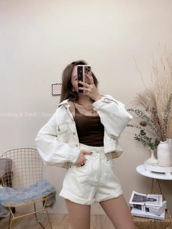 【Z822082】白色外縫丹寧外套