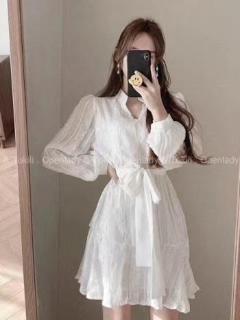 【Z923265】浪漫紋路雪紡綁帶洋裝