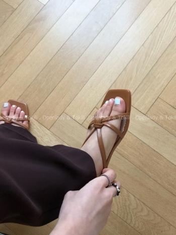 【Z923310】繫帶編織感平底涼鞋