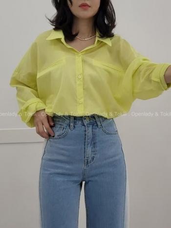 【Z923303】螢光色透防曬襯衫