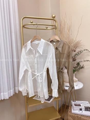 【Z822264】綁腰透視感貝殼釦襯衫