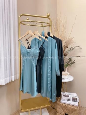 【Z822193】緞感蕾絲兩件式睡衣