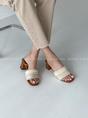 【Z923363】 編織感粗跟涼拖鞋