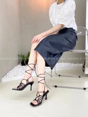 【Z923365】 編織感綁帶涼跟鞋