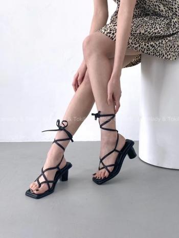 【Z923369】 綁帶粗跟百搭涼鞋