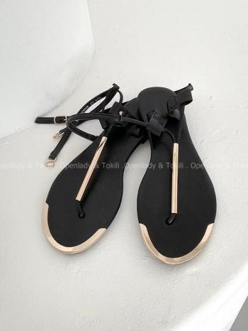 【Z923370】 簡約金屬感平底涼鞋