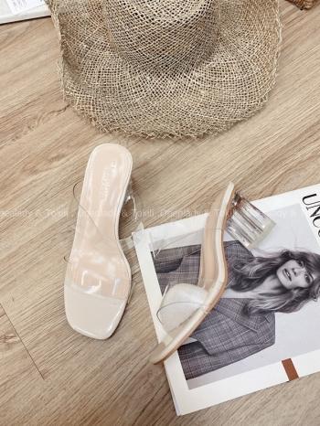 【Z822333】質感透明粗跟鞋